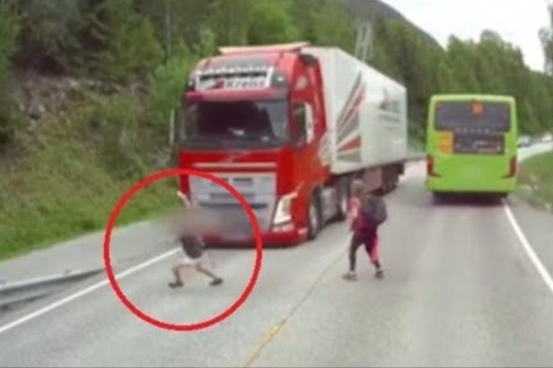 Semi Truck's Automatic Braking System Saves a Life