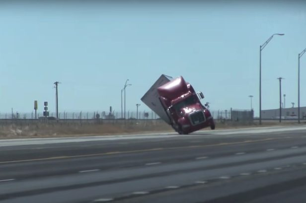 80 MPH Winds Knock Over Semi Truck in Texas