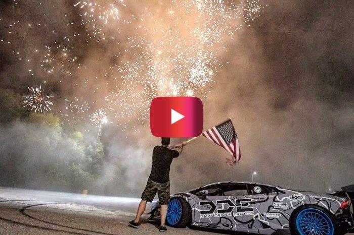 Fireworks and Lamborghini Donuts Create Epic 4th of July Stunt