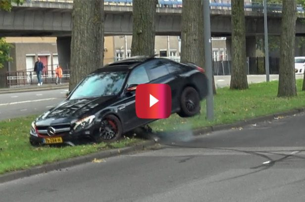 Watch Out for That Tree! Mercedes Driver's Failed Drift Costs Him Big Time