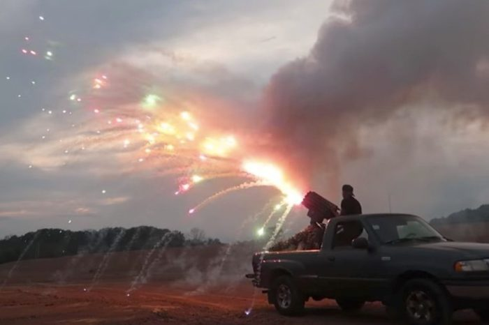 Missile Truck Shoots Off 1,000s of Fireworks, Gatling Gun Style