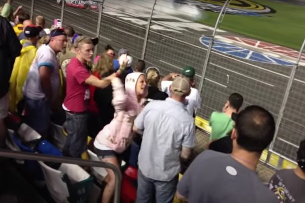NASCAR Fan's Girlfriend Slaps Him After He Throws Beer on the Track