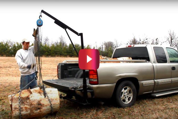 Homemade Truck Crane Loads Massive Log