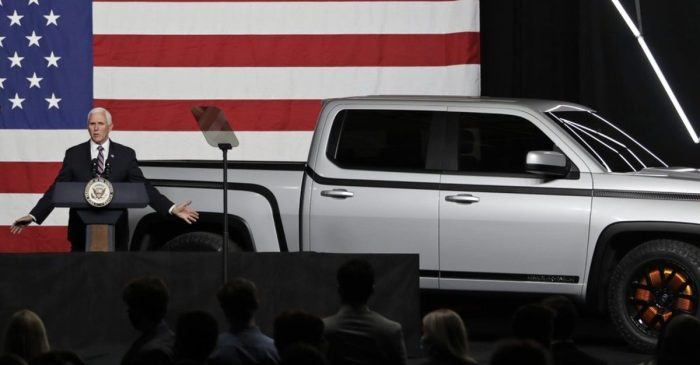 Mike Pence Unveils All-Electric Pickup Truck in Ohio
