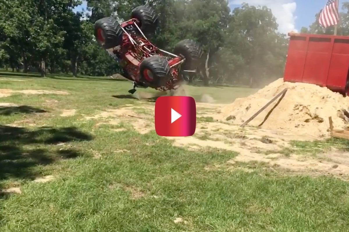 monster truck backflip attempt
