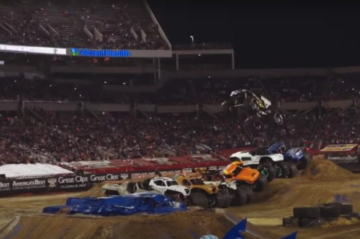 7-Truck Jump Breaks Monster Jam Record