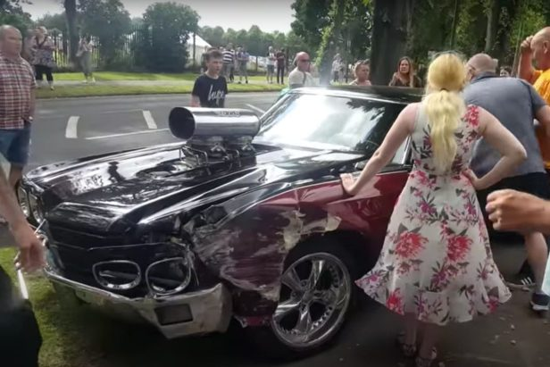 Supercharged '70 Chevelle Wrecks After Burnout at Car Show