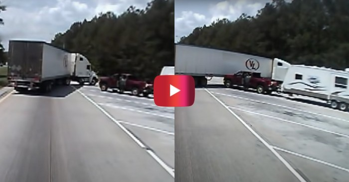 Oblivious Truck Driver Crashes at Weigh Station