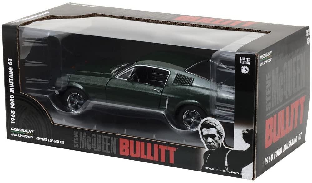 """1968 Ford Mustang GT Fastback Green From """"Bullitt"""" Movie 1/24 Diecast Model Car by GreenLight 84041"""