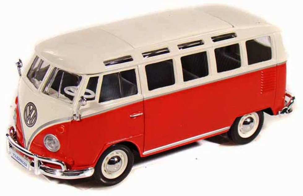 """Maisto Volkswagen Van """"Samba"""" Bus, Red & Beige 31956 - 1/25 (1/24) Scale Diecast Model Toy Car"""