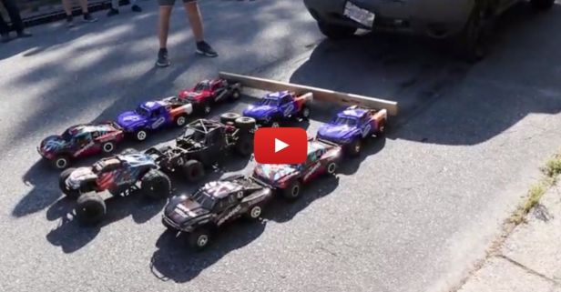 Army of RC Cars Pull Jeep With No Trouble