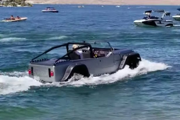 Jeep Boat Floats On By and Gets Everyone's Attention at the Lake