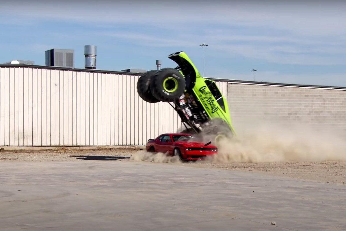 monster truck crushes 2015 dodge challenger