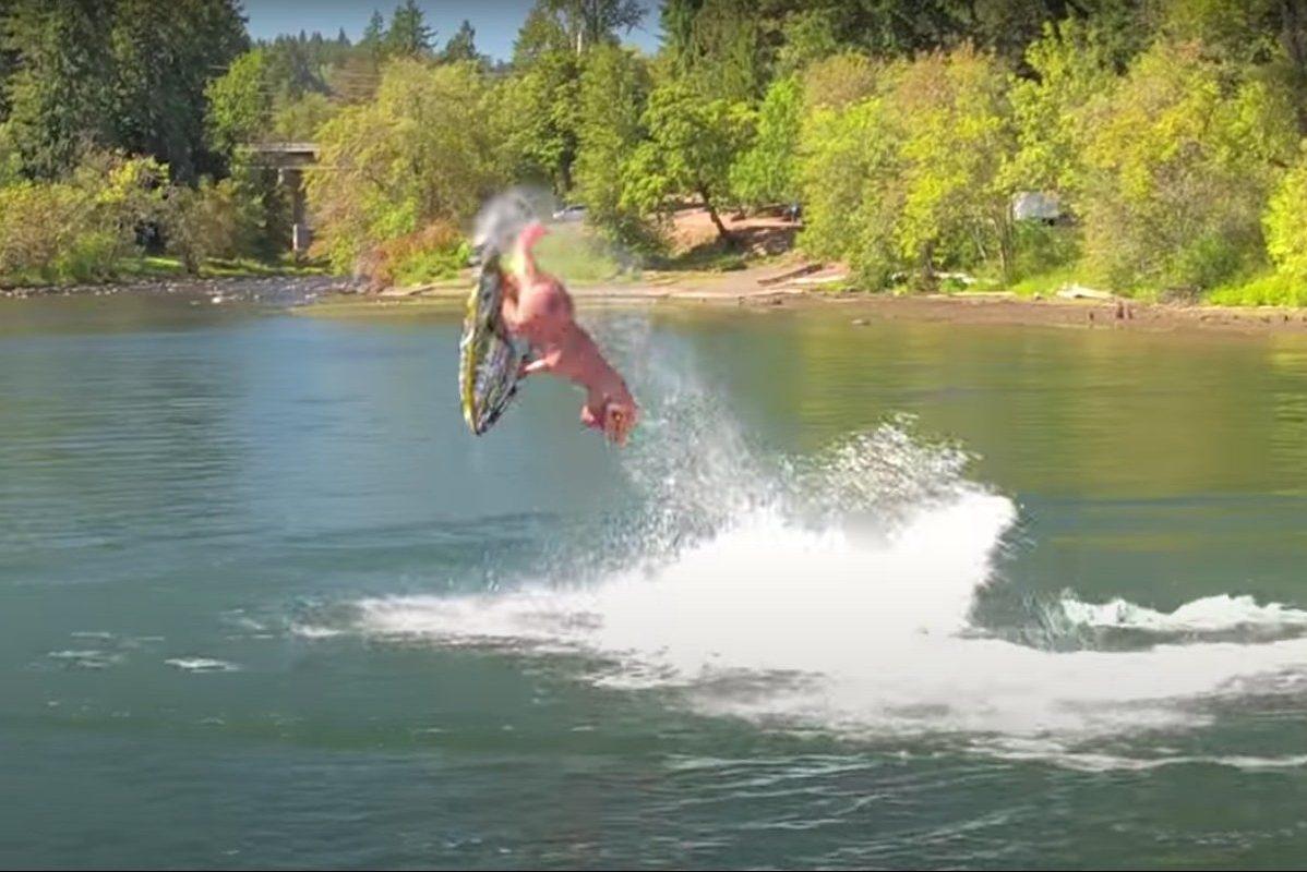 t rex jet ski stunts