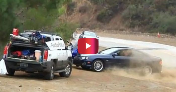 Pontiac GTO Loses Control, Crashes Into Parked Motorcycles