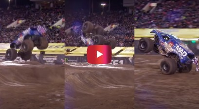 first ever monster truck front flip