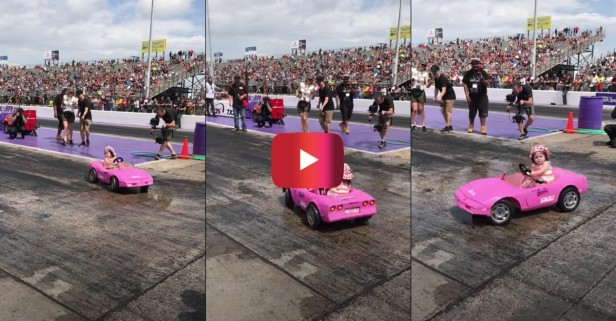 Girl Does Donuts in a Barbie Corvette With Some Help From Dad