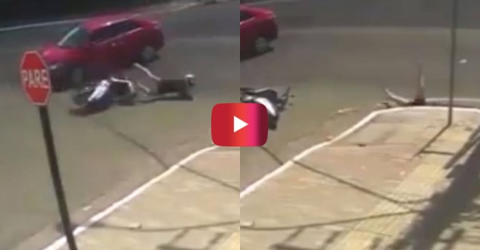 Woman Riding Moped Skids Into Storm Drain After Getting Hit by Car