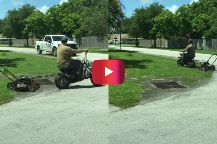 Florida Man Uses Mini Bike to Mow Lawn