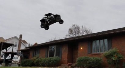 nitro circus buggy over house