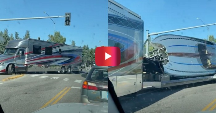RV Just Barely Tows Boat Around Tight Turn