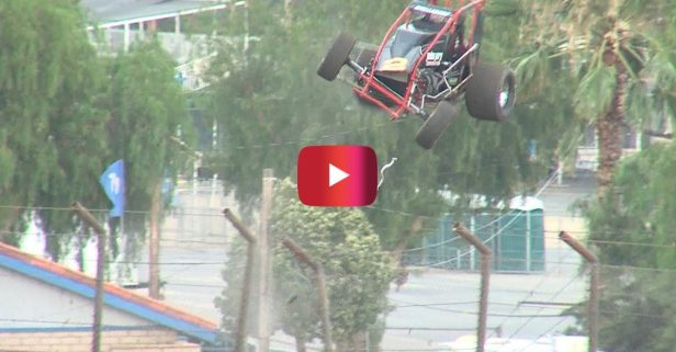 Sprint Car Flips out of Track in Wild Racing Moment