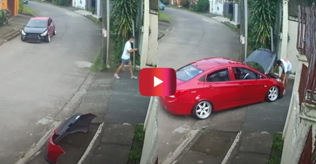 Driver Removes Bumper Every Time He Enters, Exits Driveway