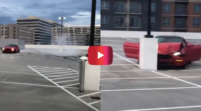 ford mustang crash empty parking lot