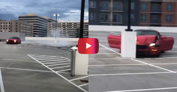 Mustang Crashes Into Pole in Empty Parking Lot