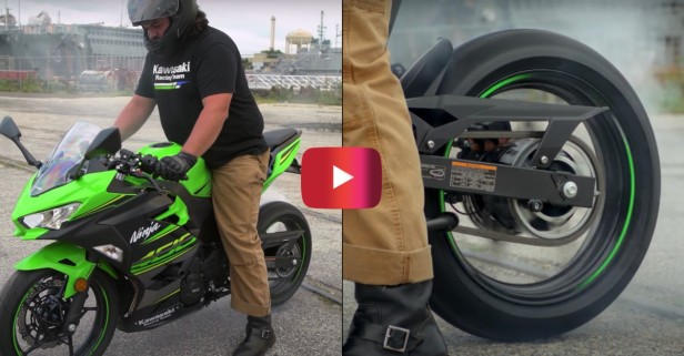Biker Shows How to Do a Burnout
