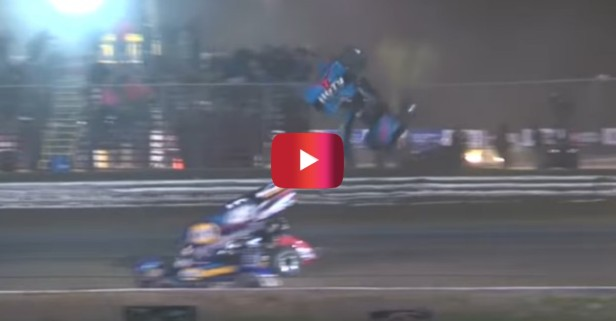 Sprint Car Launches Over Catch Fence, Barely Misses Fans