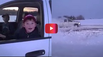 kids doing donuts in dad's truck