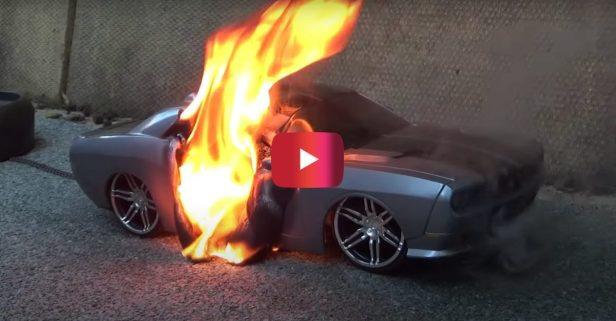 RC Car Catches Fire During Burnout