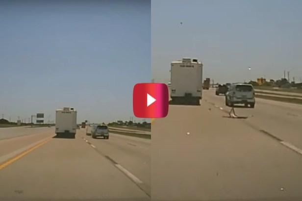 RV Door Hits Car on Highway