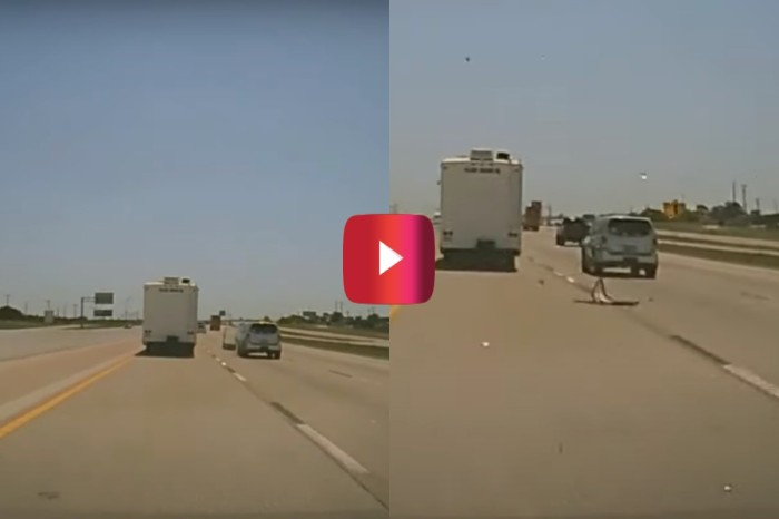 RV Door Hits Car on Highway
