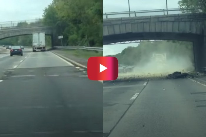 Semi Truck Smashes Through Overpass on New York Parkway