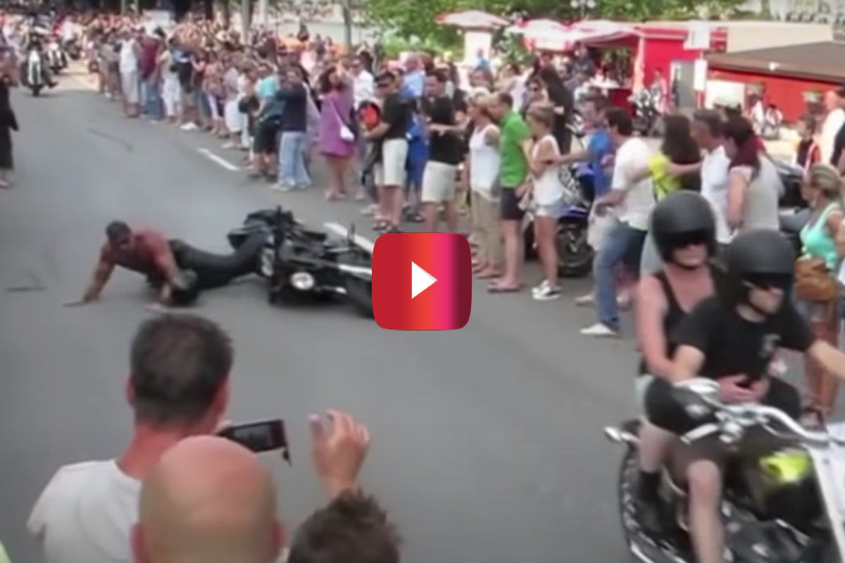 shirtless biker wipeout