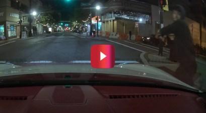 skateboarder smashes windshield