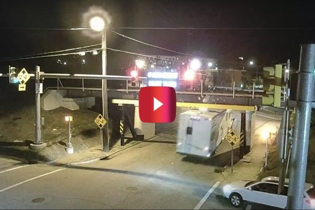 Infamous Bridge Takes Out Trailer's Roof Equipment