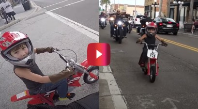 6 Year Old Leads Motorcycle Ride