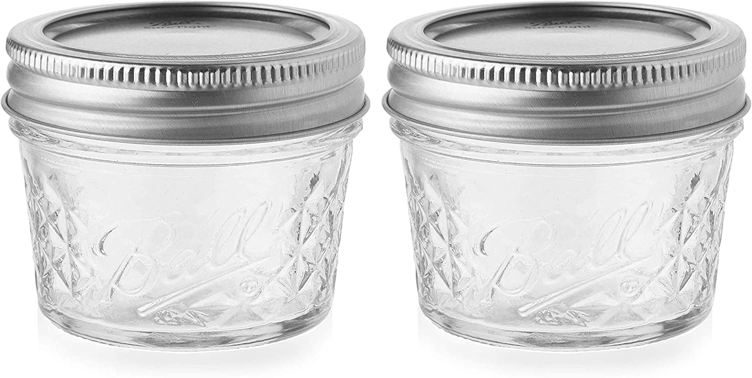 Ball Quilted Crystal Jelly Jars with Lids and Bands, 4-Ounce, Clear (2-Pack)