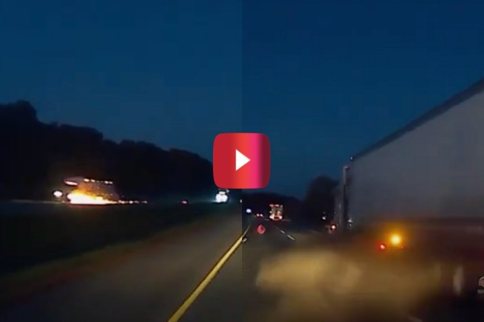 Flaming Tire Launches Across Median, Clips Semi Truck