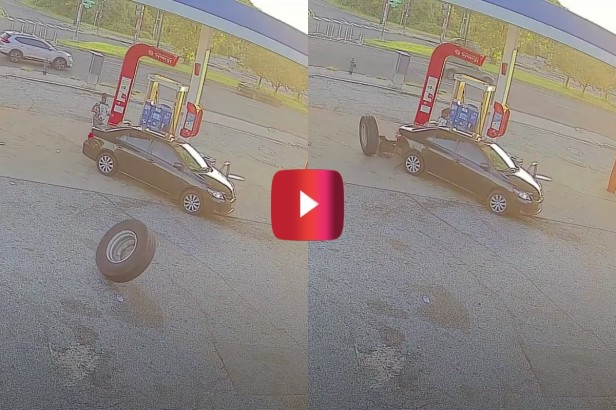 Trash Truck Tire Crashes Into Car at Gas Station