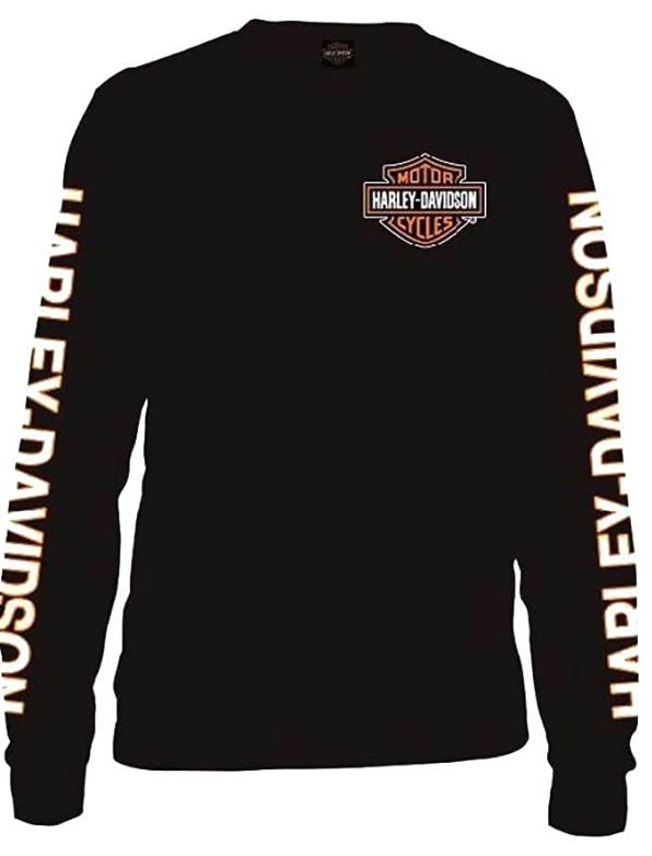 Harley-Davidson Men's Long Sleeve Orange Bar & Shield Black Shirt 30291744