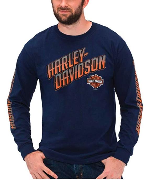 Harley-Davidson Men's Bold H-D Long Sleeve Crew-Neck Cotton T-Shirt, Navy