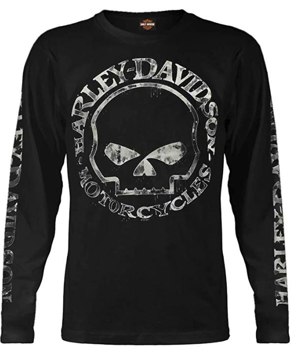 Harley-Davidson Men's Shirt, Hand Made Willie G Skull Long Sleeve 30294032