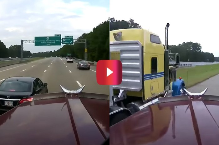 Driver's Last-Second Merge Causes Semi Truck Close Call