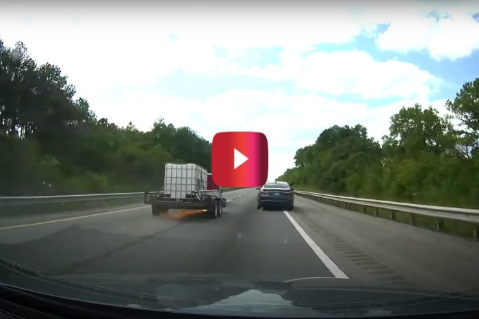 Trailer Snaps Off F-350 Hitch and Crashes Off Road