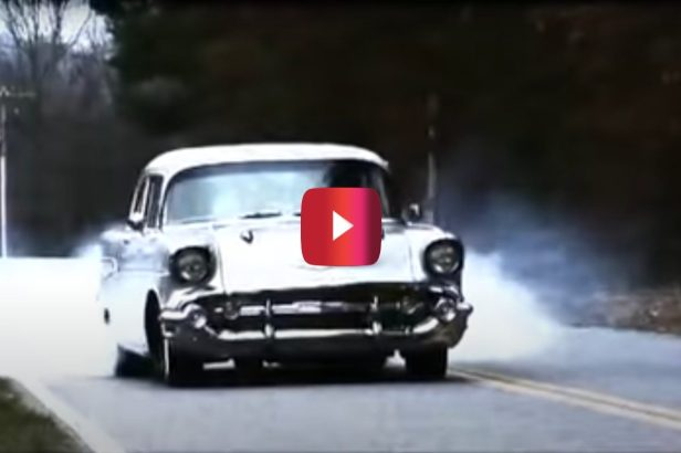 '57 Chevy With 600 Horsepower Beautifully Burns Rubber