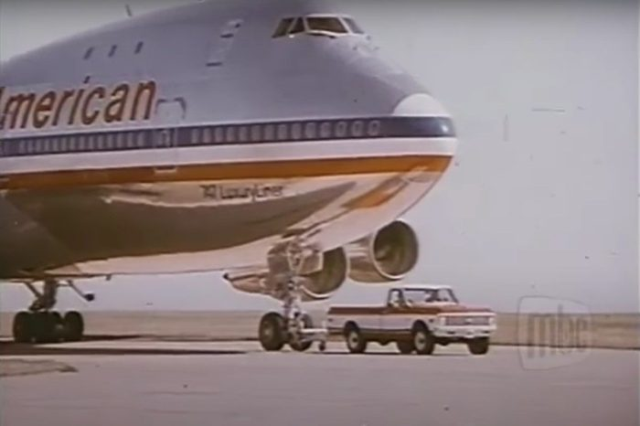 '72 Chevy Truck Pulls Boeing 747 in Classic Commercial